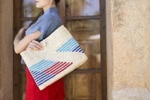 julia geithner wearing antic mallorca handmade bag traditional mallorquin tote