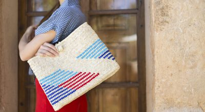 julia geithner wearing antic mallorca handmade bag traditional mallorquin tote