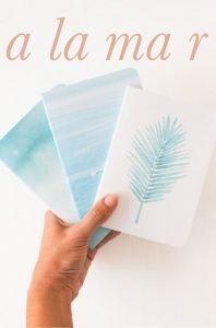 alamar mallorca papeterie postkarten postcards postales cuadernos aquarell aquarela handpainted design beach bag tote fairtrade souvenir cala mallorca holiday sea swim handbag