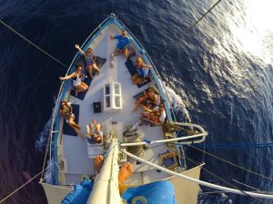 the charter boat Bonnie Lass with guests seen from above in Mallorca
